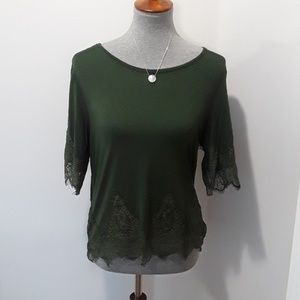 Green with Lace Blouse